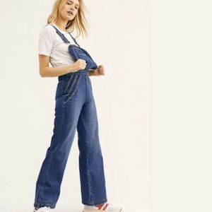 Free People Chasing Rainbows Flared Leg Overalls